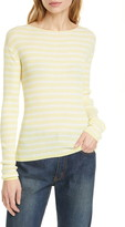 Vince Stripe Ribbed Boatneck Cotton Sweater