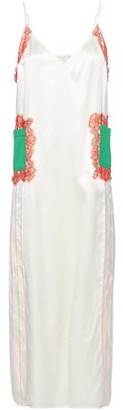 Tory Burch Appliqued Lace-trimmed Silk-satin Midi Dress
