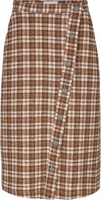Remain Birger Christensen Marina Check Cotton Blend Tweed Midi Skirt