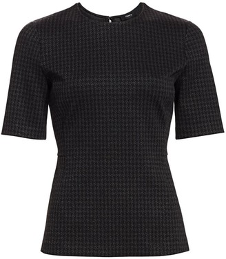 Theory Houndstooth-Print Short-Sleeve Tee