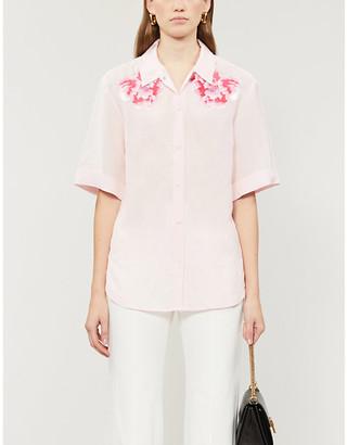 Sandro Linen floral-applique woven shirt
