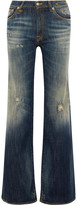 R 13 The Jane distressed mid-rise flared jeans