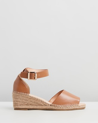 Human Premium - Women's Brown Sandals - Helene Leather Wedge Heels - Size 7 at The Iconic