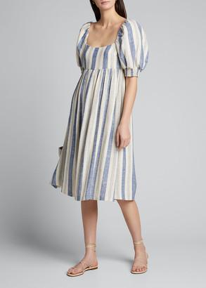 Alice + Olivia Bauery Puff-Sleeve Babydoll Midi Dress