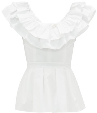 Alexander McQueen Ruffled Peplum-hem Cotton-poplin Top - Womens - White