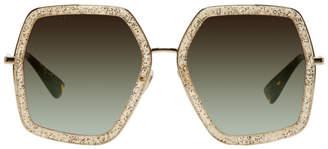 Gucci Gold Oversized Hexagon Sunglasses