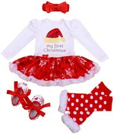 Petitebella My 1st Christmas Hat Dress White Bodysuit Snowflake Tutu Leg Warmer Shoes Nb-18m
