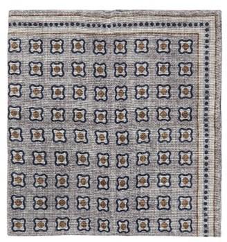 Brunello Cucinelli Tile-print Linen-blend Mesh Pocket Square - Grey Multi