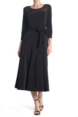 Nina Leonard Waist Tie Glitter Knit Midi Dress