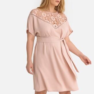 Castaluna Plus Size Guipure Laced Tie-Waist Dress with Buttoned Back