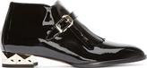 Valentino Black Patent Leather Studded-Heel Vernice Monks