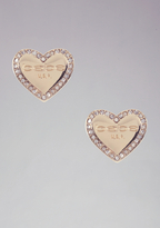 Bebe Logo Heart Stud Earrings