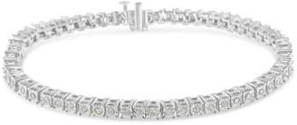 Original Classics .925 Sterling Silver & 10K Gold 1.0 Cttw Diamond Square Frame Tennis Bracelet