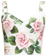 Dolce & Gabbana Cropped Rose-print Cotton-blend Bustier Top - Womens - White Multi