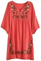 Kafeimali Summer Dress V Neck Mexican Embroidered Peasant Women's Dressy Tops Blouses