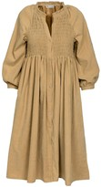 Naftul Puff Sleeves Bohemian Dress Camel
