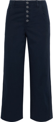 Joie Cassedy Cropped Cotton-blend Twill Straight-leg Pants
