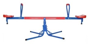 PLAYBERG Extendable Outdoor Red and Blue Metal Rotating Seesaw