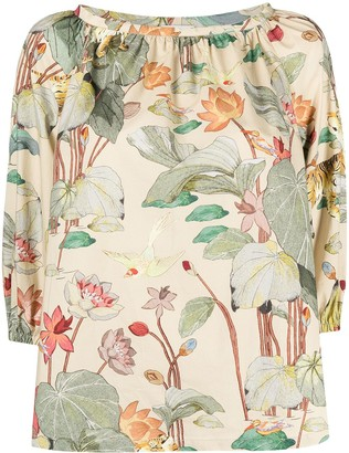 Etro Floral-Print Short-Sleeved Top
