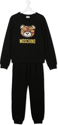 MOSCHINO BAMBINO TEEN logo two-piece tracksuit set