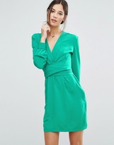 Liquorish Wrap Front Dress