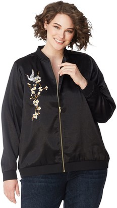 Just My Size Embroidered Satin Bomber Jacket