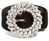 Miu Miu Crystal-embellished suede belt