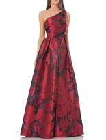 Carmen Marc Valvo One Shoulder Brocade Ball Gown