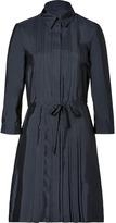 Jil Sander Navy Navy Pleated Silk Shirtdress