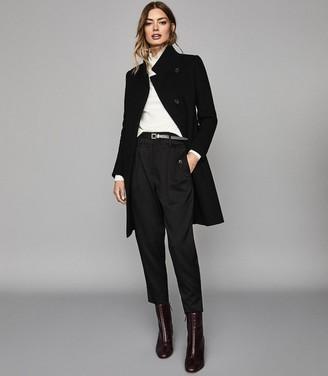 Reiss Maya - Wool Blend Mid Length Coat in Black
