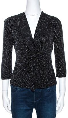 Armani Collezioni Black Lurex Stretch Knit Ruffled Cardigan M