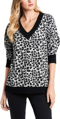 Vince Camuto Leopard Jacquard Long Sleeve Top