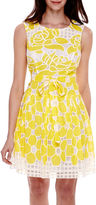 Robbie Bee Sleeveless Belted Lace Burnout Fit-and-Flare Dress - Petite