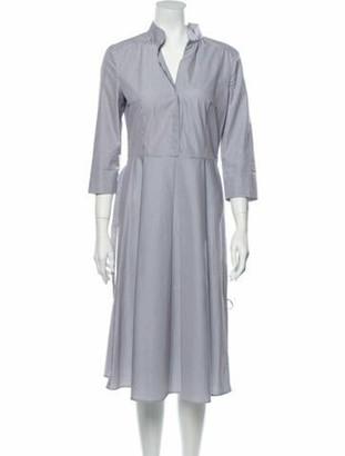 Akris Punto Striped Midi Length Dress Blue