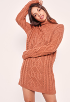 Missguided Chunky Oversized Cable Sweater Dress Pink