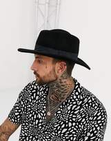 Asos Pork Pie Hat In Black With Diamond Crown