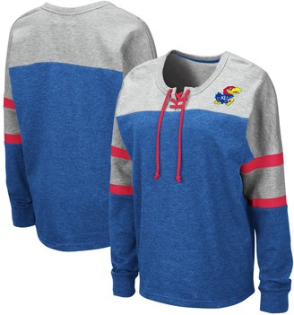 Colosseum Women's Royal Kansas Jayhawks Manolo Lace-Up French Terry Pullover Sweatshirt