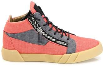 Giuseppe Zanotti Leather & Denim Lace Front Sneakers