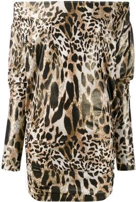 Alexandre Vauthier leopard print off the shoulder dress