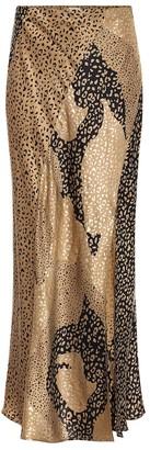 Rixo Parker leopard-print silk midi skirt