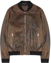 Dolce & Gabbana Brown Suede Bomber Jacket