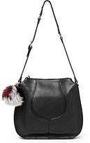 Botkier Grove Pebble Leather Hobo Bag with Fur Pom