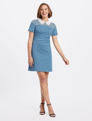 Draper James Lace Collar Striped Persley Dress