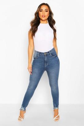 boohoo Petite Frayed Hem Distressed Skinny Jeans