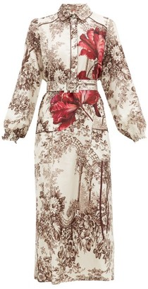F.R.S For Restless Sleepers Stereotype Floral-print Satin Dress - Womens - Brown White