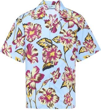 Prada hibiscus pattern bowling shirt
