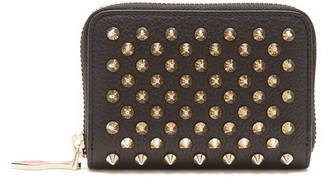 Christian Louboutin Panettone Zip-around Leather Coin Purse - Womens - Black Gold