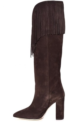 Paris Texas Velour Western Boot with Fringe in Dark Brown