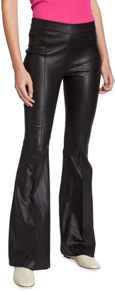 Rosetta Getty Pintucked Leather Flare Pants