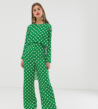 Verona long sleeved layered jumpsuit in green polka dot